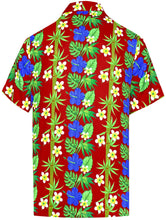 Load image into Gallery viewer, la-leela-shirt-casual-button-down-short-sleeve-beach-shirt-men-aloha-pocket-Blood Red_W402