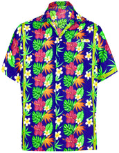 Load image into Gallery viewer, la-leela-mens-casual-beach-hawaiian-shirt-for-aloha-tropical-beach-front-pocket-short-sleeve-front-pocket-blue