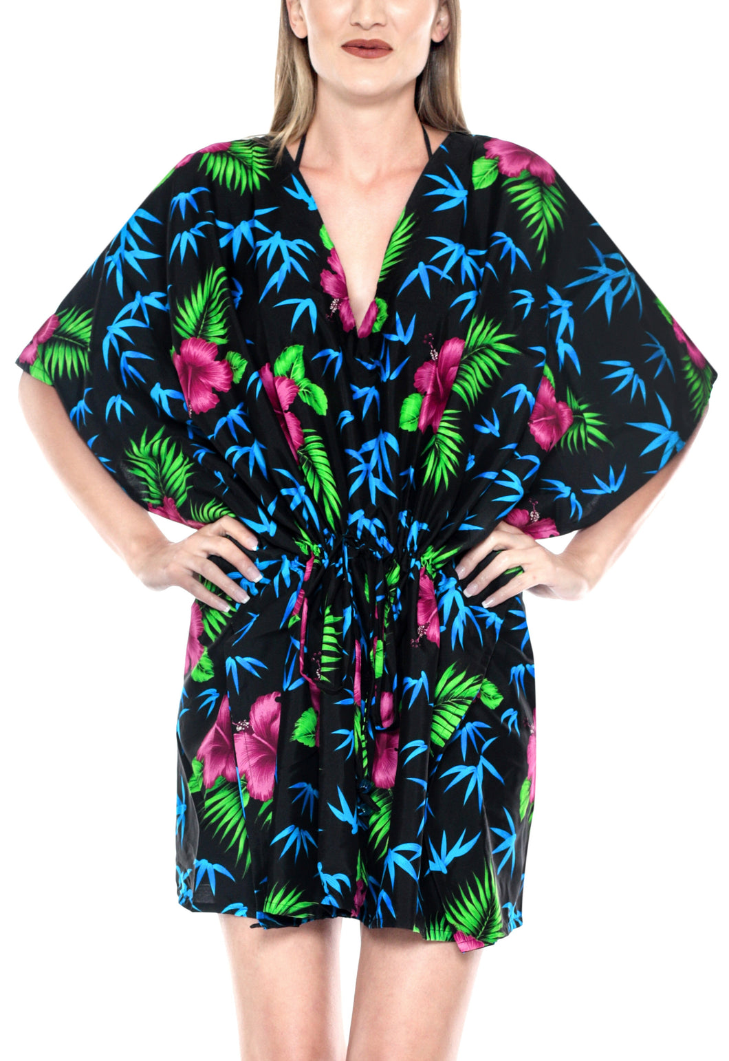 la-leela-bikni-swimwear-cover-ups-likre-printed-sheer-bathingsuit-kaftan-caftan-bohemian-tunic-cardigan-work-lightweight-black