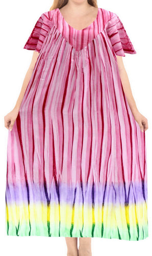 LA LEELA Cotton Tie Dye Beach formal Long Casual DRESS Beach Cover up womens Pink 88 One Size