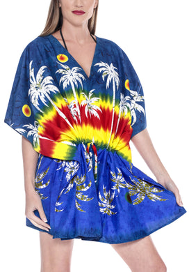 Women's Beachwear Swimwear Swimsuit Bikini Palm Tree Cover up Autumn Winter Blouse TOP Navy Blue