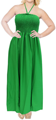 LA LEELA Evening Beach Swimwear Rayon Solid Beach Lounge Midi Stretch Tube Dress Green 2109 One Size