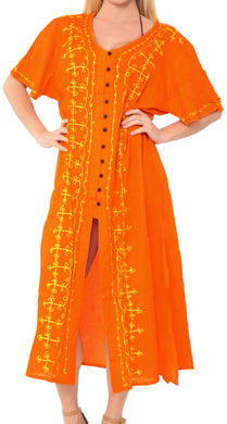 LA LEELA Casual DRESS Beach Cover up Rayon Tie Dye Cruise Caftan Long Women One Size Orange_K807