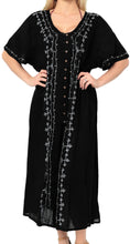 Load image into Gallery viewer, la-leela-casual-dress-beach-cover-up-rayon-solid-embroidered-maxi-hawaiian-party-one-size-black_k805