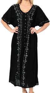 la-leela-casual-dress-beach-cover-up-rayon-solid-embroidered-maxi-hawaiian-party-one-size-black_k805