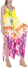 Load image into Gallery viewer, la-leela-rayon-tie-dye-casual-printed-sundress-beach-cover-upes-womens-yellow-3412-one-size