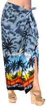 Load image into Gallery viewer, la-leela-swimwear-soft-light-long-swim-tie-slit-skirt-swimsuit-sarong-printed-88x42-grey_3064