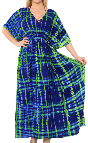 LA LEELA Lounge Rayon Printed Long Caftan Nightgown Women Green_565 OSFM 10-16W [M-1X]