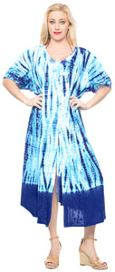 LA LEELA Casual DRESS Beach Cover up Rayon Tie Dye Cover Up Womens Swimsuit Skirt  Blue 94 One Size