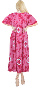 LA LEELA Casual DRESS Beach Cover up Rayon Tie Dye Cover Up Womens Swimsuit Skirt Pink_I794