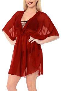 LA LEELA Bikni Swimwear Cover ups Chiffon Solid Hawaii Cardigan Girl OSFM 8-16W [M- 1X] Red_841