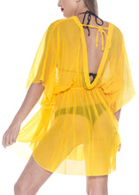 Load image into Gallery viewer, la-leela-bikni-swimwear-chiffon-solid-blouse-cover-ups-women-osfm-8-16w-m-1x-yellow_843