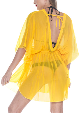 LA LEELA Bikni Swimwear Chiffon Solid Blouse Cover Ups Women OSFM 8-16W [M- 1X] Yellow_843