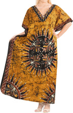 Load image into Gallery viewer, la-leela-lounge-cotton-batik-long-caftan-nightgown-women-brown_436-osfm-14-18w-l-2x