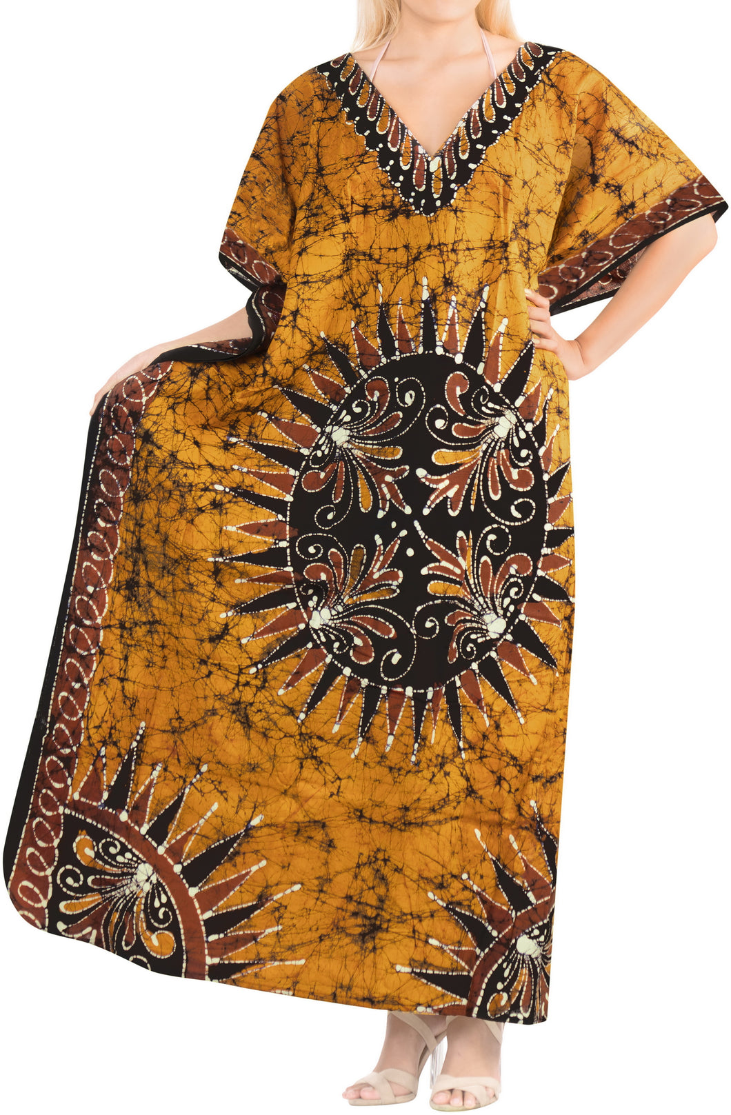 LA LEELA Lounge Cotton Batik Long Caftan Nightgown Women Brown_436 OSFM 14-18W [L-2X]