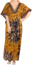 Load image into Gallery viewer, LA LEELA Lounge Cotton Batik Long Caftan Nightgown Women Brown_436 OSFM 14-18W [L-2X]