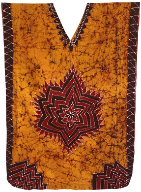 LA LEELA Lounge Caftan Cotton Batik Casual Tube Halter Top Length Knee Golden 147 Plus Size