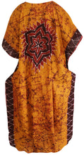 Load image into Gallery viewer, la-leela-lounge-caftan-cotton-batik-casual-tube-halter-top-length-knee-golden-147-plus-size