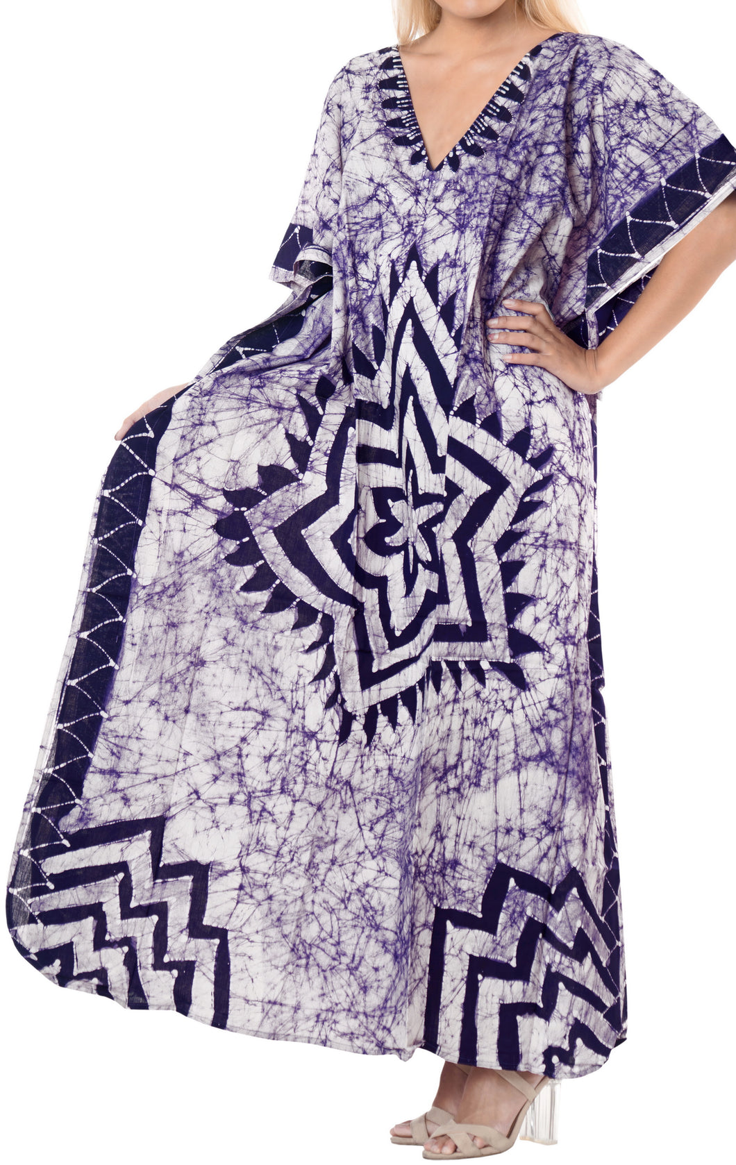 LA LEELA Lounge Cotton Batik Maxi Cover Up Aloha Caftan Violet 148 Plus Size