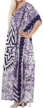 Load image into Gallery viewer, LA LEELA Lounge Cotton Batik Maxi Cover Up Aloha Caftan Violet 148 Plus Size