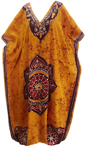 LA LEELA Lounge Caftan Cotton Batik Top Caribbean Short Office Stretchy  Golden 146 Plus Size