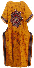 Load image into Gallery viewer, la-leela-lounge-caftan-cotton-batik-top-caribbean-short-office-stretchy-golden-146-plus-size