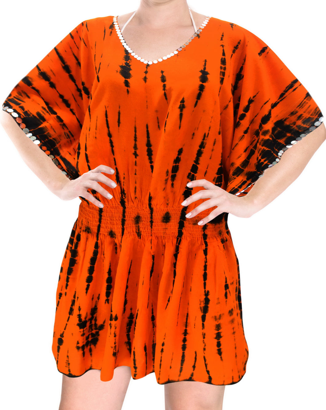 LA LEELA Bikni Swimwear Cover ups Rayon Tie_Dye Short Caftan Plains Orange_1430 OSFM 14-18 [L-XL]