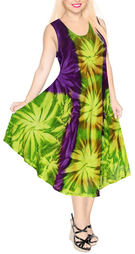 LA LEELA DRESS Beach Cover up Rayon Tie Dye Casual Tank Top Cover Up Violet_C102 OSFM 14-20W [L-2X]