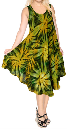 la-leela-casual-dress-beach-cover-up-rayon-tie-dye-tropical-skirt-halter-swimsuit-green-656-plus-size