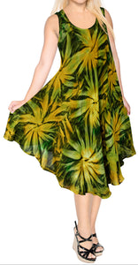 LA LEELA Casual DRESS Beach Cover up Rayon Tie Dye Tropical Halter Swimsuit Green 656 Plus Size