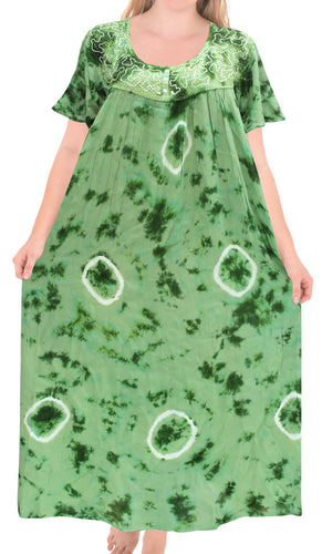 LA LEELA Rayon Tie Dye Maxi tube Halter Casual DRESS Beach Cover upes top Womens Green 123 Plus Size