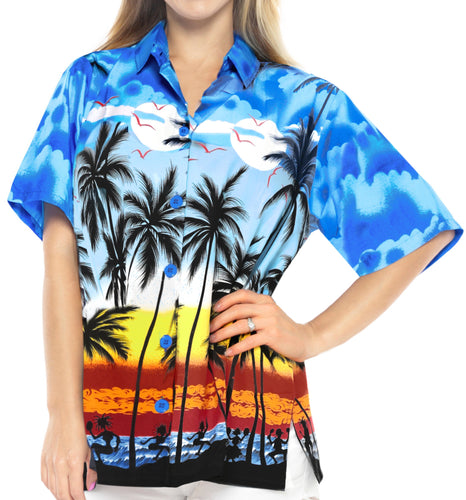 LA LEELA Women Hawaiian Shirt Beach Blouses Tank Top Aloha Boho Casual Holiday Button Up - w959