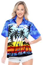Load image into Gallery viewer, LA LEELA Women's Beach Casual Hawaiian Blouse Short Sleeve button Down Shirt TOPs Palm Tree printed Blue