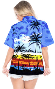 LA LEELA Women's Beach Casual Hawaiian Blouse Short Sleeve button Down Shirt TOPs Palm Tree printed Blue
