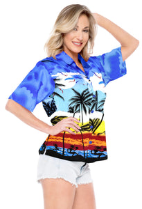 LA LEELA Women's Beach Casual Hawaiian Blouse Short Sleeve button Down Shirt TOPs Blue