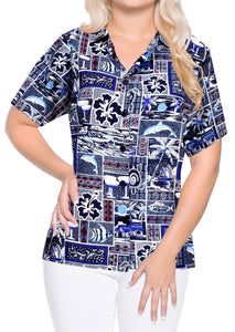 Top Women Hawaiian Shirt Beach Blouses Tank Casual Aloha Boho Holiday Loose Fit