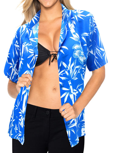 LA LEELA Women's Summer Beach Blouse Button up Relaxed Camp Casual Shirt Leafy 1890