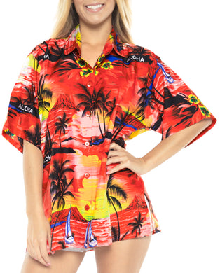 LA LEELA Women's Beach Casual Hawaiian Blouse Short Sleeve button Down Shirt Red tops