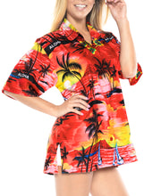 Load image into Gallery viewer, la-leela-womens-beach-casual-hawaiian-blouse-short-sleeve-button-down-shirt-red-tops