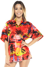 Load image into Gallery viewer, LA LEELA Women's Beach Casual Hawaiian Blouse Short Sleeve button Down Shirt Red tops