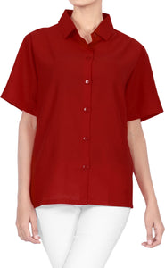 LA LEELA Men's Beach Hawaiian casual Aloha Button Down Short Sleeve shirt Red_X527