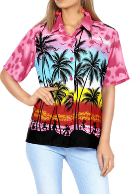 LA LEELA Women's Beach Casual Hawaiian Blouse Short Sleeve button Down Shirt Pink
