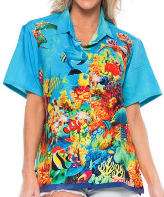 LA LEELA Likre Beach Sealife Turtle Sea Aquarium Print Tops Women's Camp Shirt Blue 445