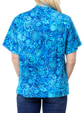 Load image into Gallery viewer, la-leela-womens-beach-casual-hawaiian-blouse-short-sleeve-button-down-shirts-plus-blue