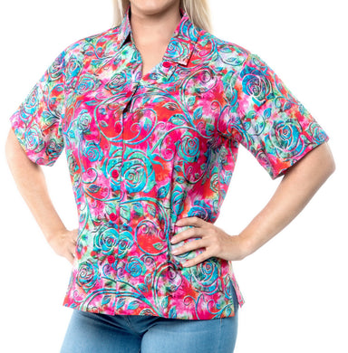 la-leela-womens-beach-casual-hawaiian-blouse-short-sleeve-button-down-shirt-tropical-pink
