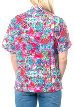 Load image into Gallery viewer, la-leela-womens-beach-casual-hawaiian-blouse-short-sleeve-button-down-shirt-tropical-pink