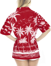 Load image into Gallery viewer, la-leela-womens-beach-casual-hawaiian-blouse-short-sleeves-button-down-shirt-Red-Palm-Tree-printed