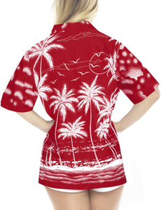 la-leela-womens-beach-casual-hawaiian-blouse-short-sleeves-button-down-shirt-Red-Palm-Tree-printed