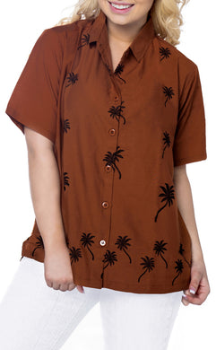 Women Hawaiian Shirt Casual Embroidery Blouses Workwear Short Sleeve Dress Top Brown X_478