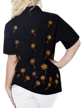 Load image into Gallery viewer, LA LEELA WoMen Hawaiian Beach Button Down Short Sleeve Camp Casual Blouse Palm Tree Black _X467